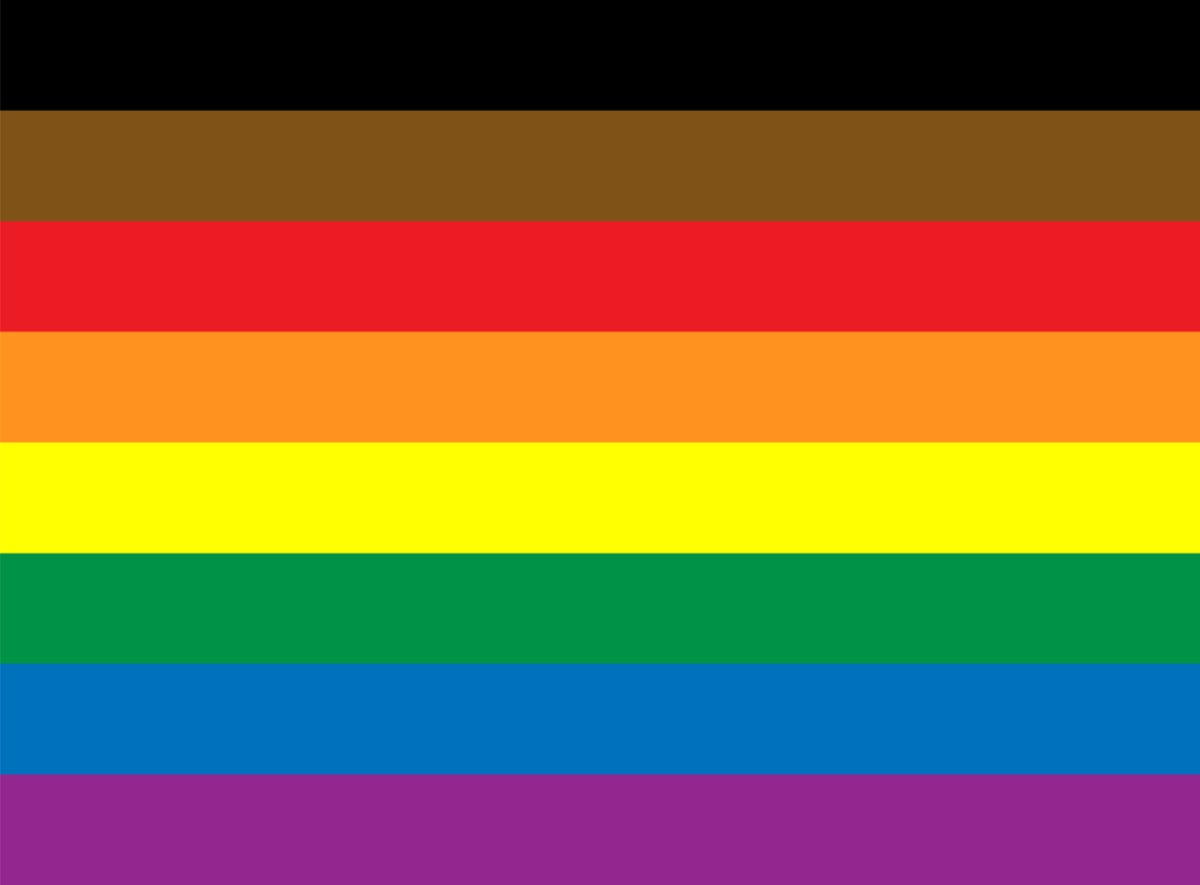rainbow pride flag with black and brown stripes
