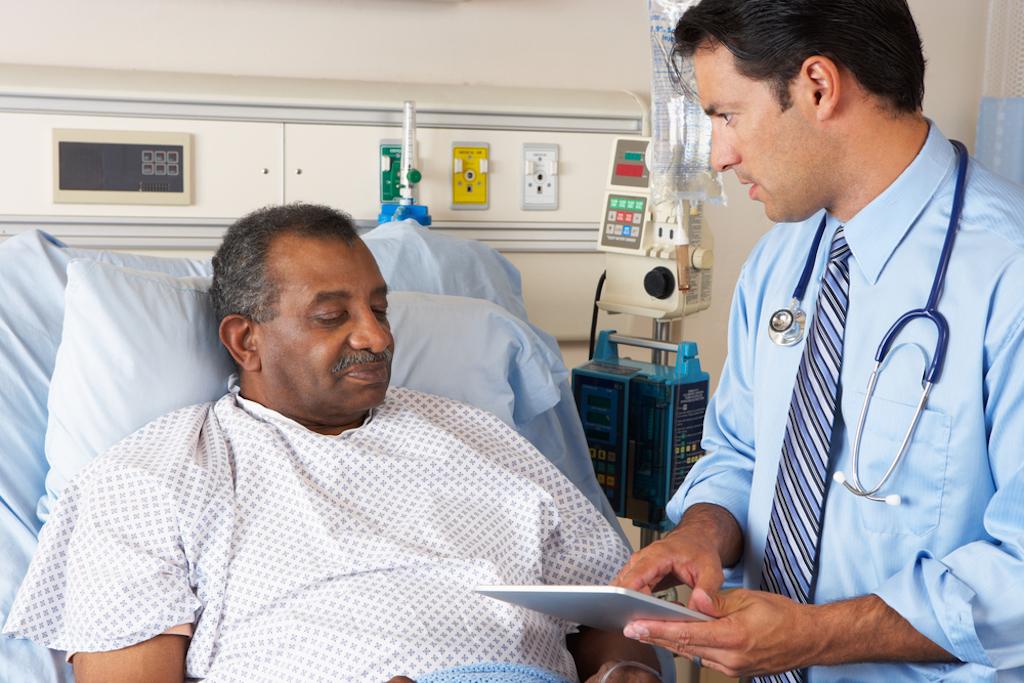 man in hospital, heart risk factors