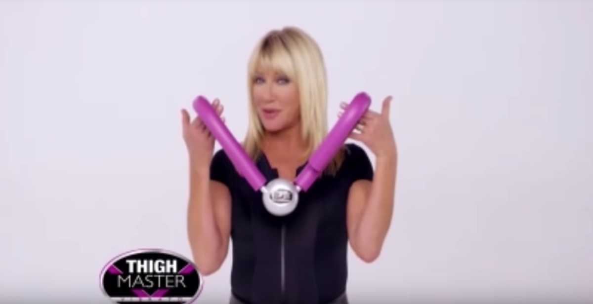 suzanne somers holding thighmaster, celebrity infomercial
