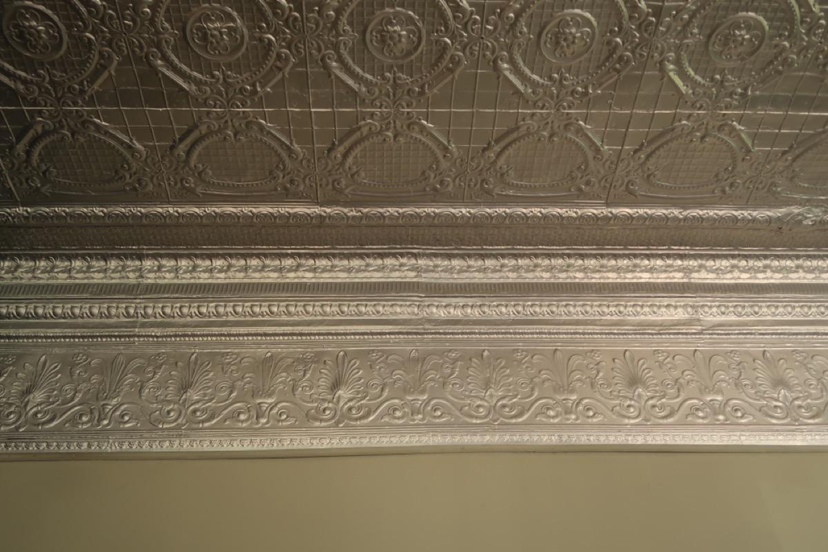 pressed tin ceiling, vintage home upgrades