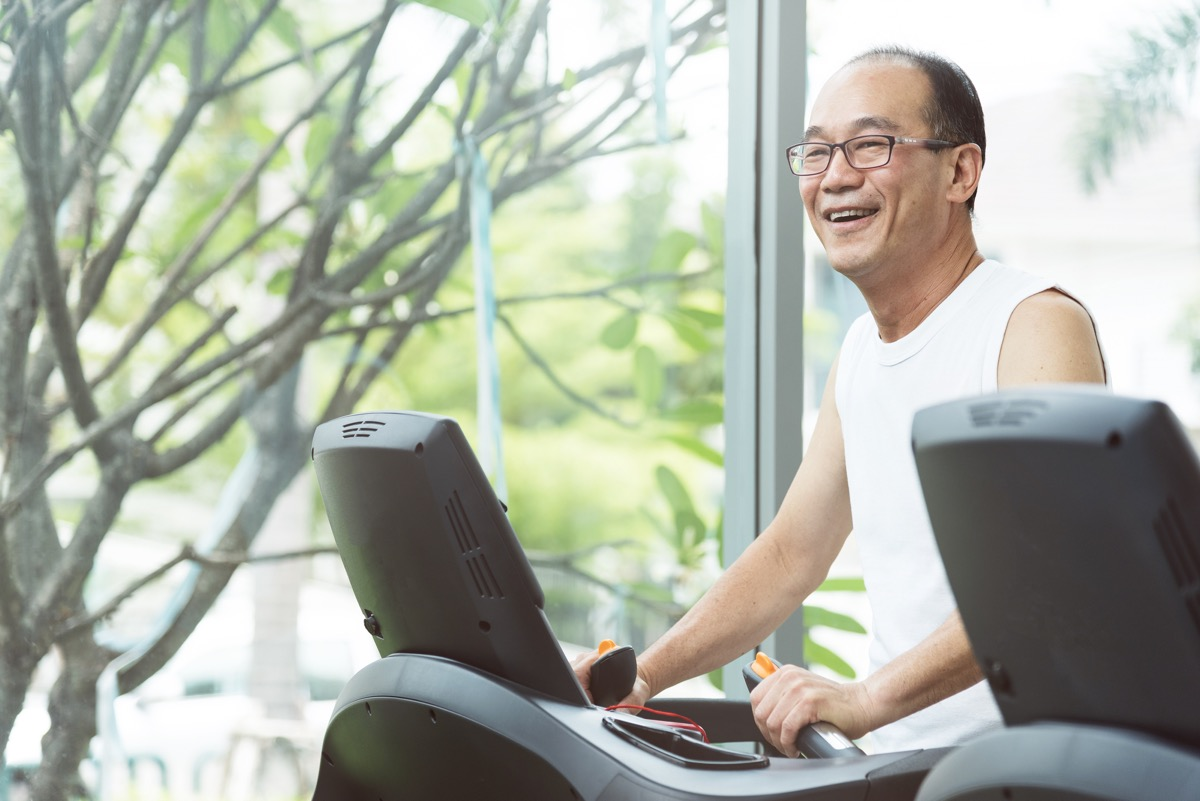 an old man doing warm up exercising on the treadmill, home hazards