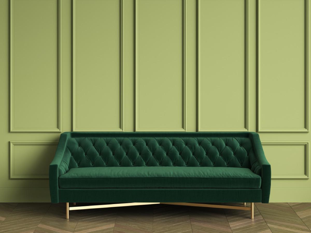 green velvet sofa on green wall, vintage home upgrades