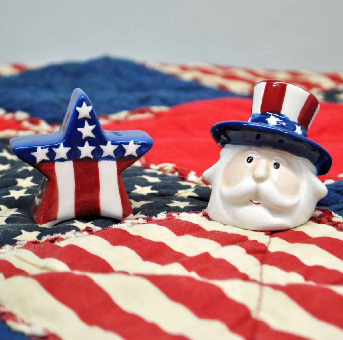 Uncle Sam Salt and Pepper Shakers Fourth of July Accessories