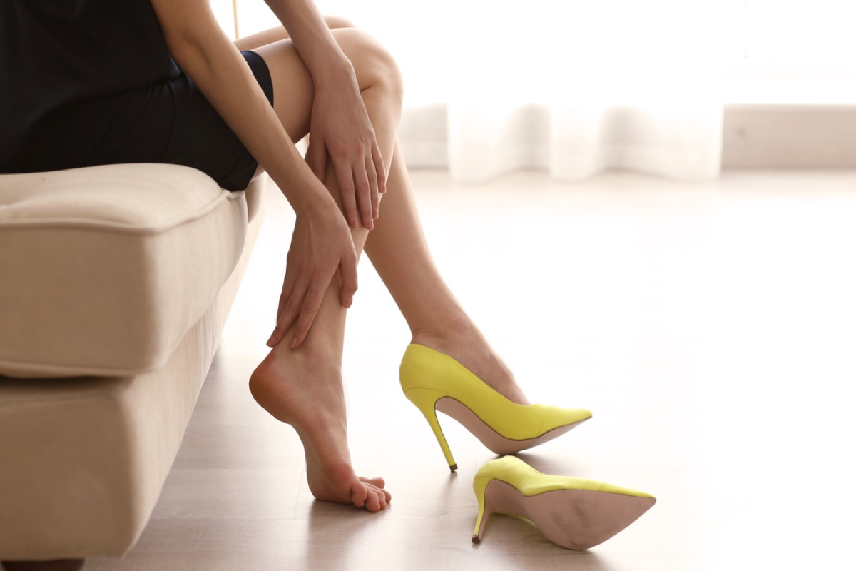 woman putting on yellow heels, make yourself more attractive