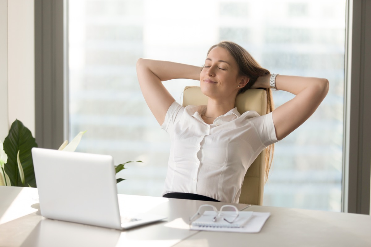 woman resting at work perfect nap