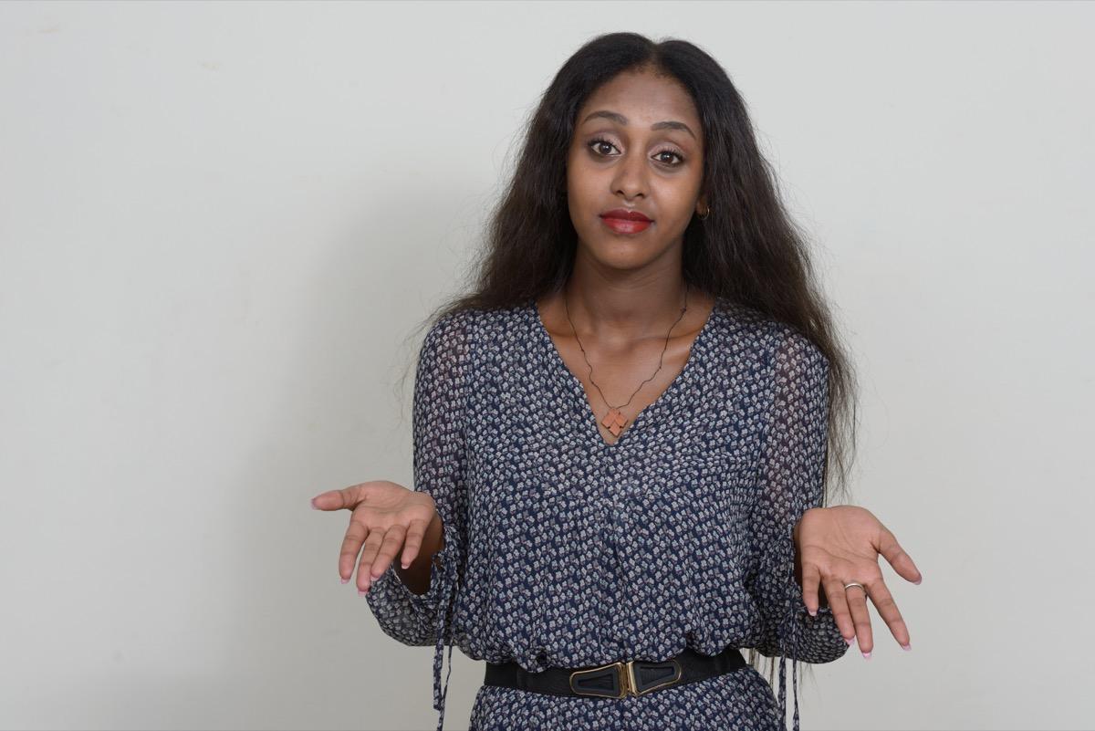 Black Woman Shrugging Don't @ Me Slang Terms