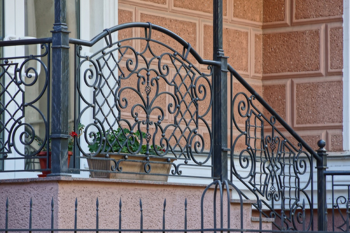 front step with metal railing, vintage home upgrades