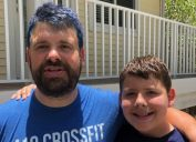 Matthew Green dyes son blue raises money for chairity