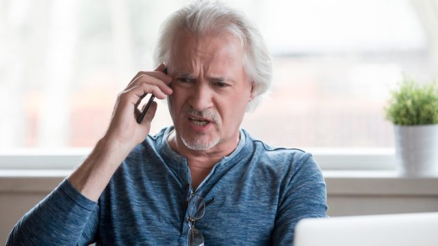 Angry elderly man on phone, things not to say to customer service