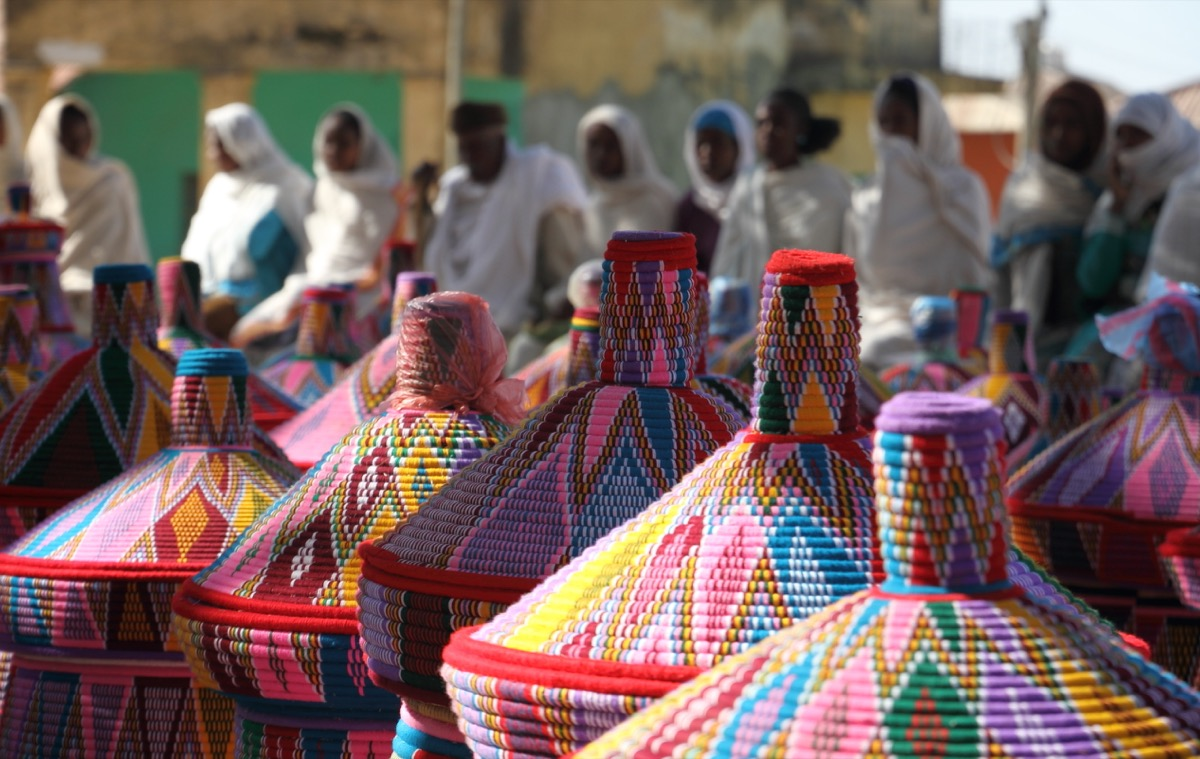 Colorful baskets lined up in Ethiopia, Prince Philip controversial moments