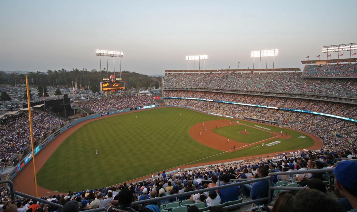 Dodgers Stadium at dusk