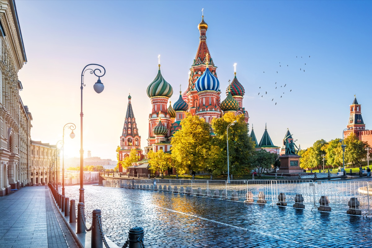St. Basil's Cathedral on Red Square in Moscow in front of water, Russia among Prince Philip controversial moments