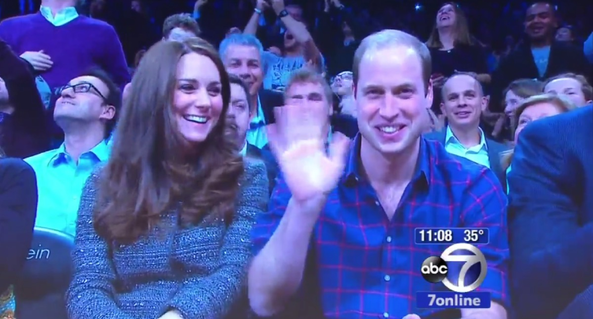 Prince William Waves at camera at Barclays Nets Game with Kate Middleton
