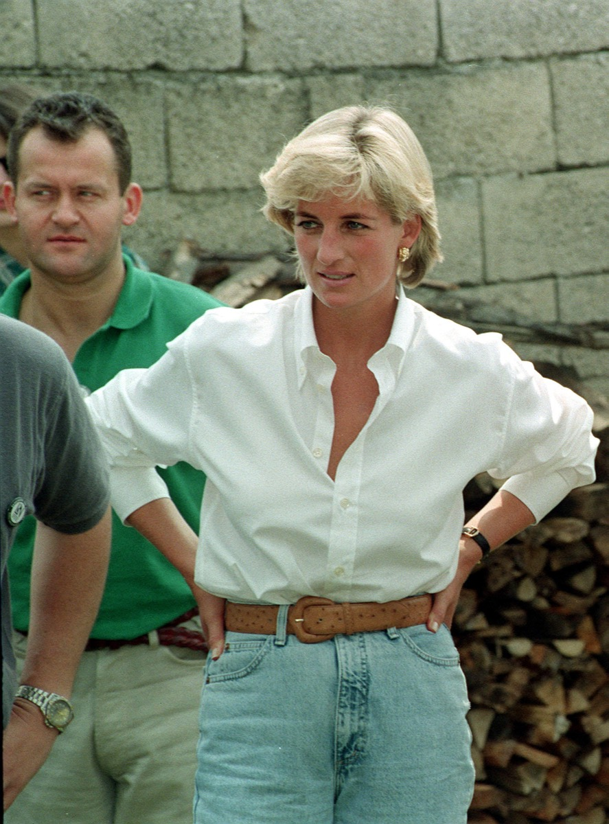 Princess Diana in Jeans and white top with brown belt