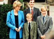 Prince William (right) poses at a photocall with his mother Diana, Princess of Wales and his brother Prince Harry before his first day at Eton College Public School in 1995, surprising prince William fact