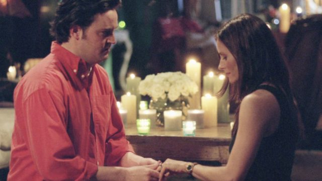 chandler and monica getting engaged on friends