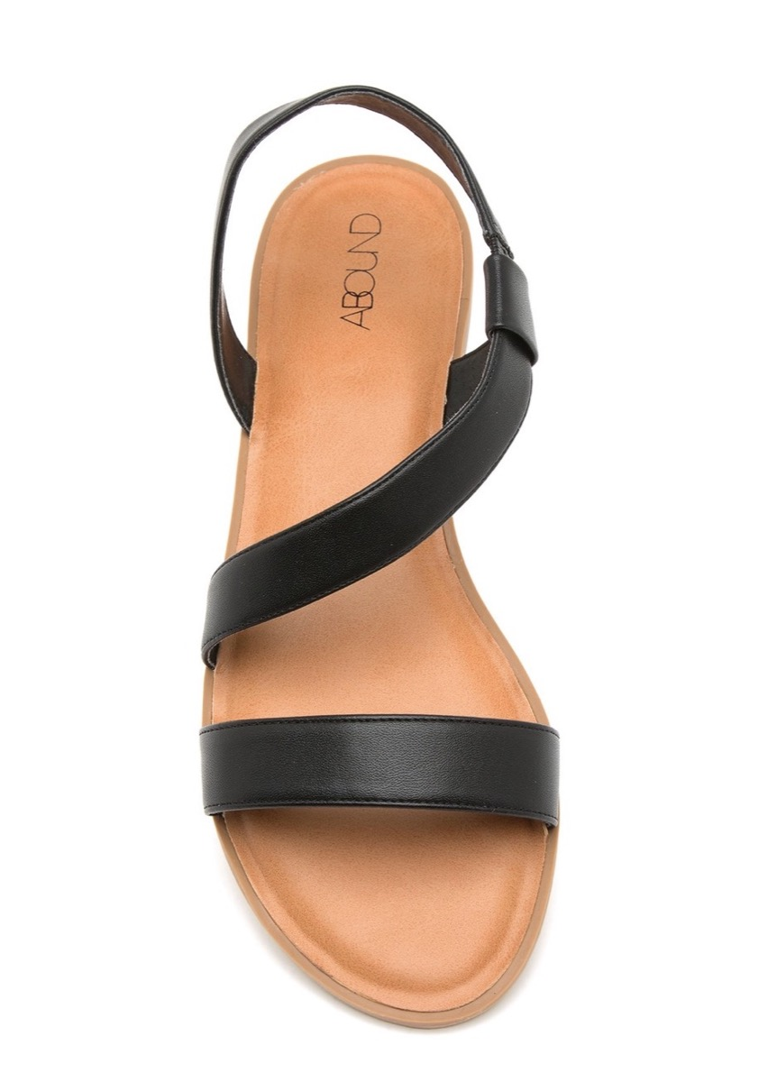 black leather strappy sandals, affordable sandals