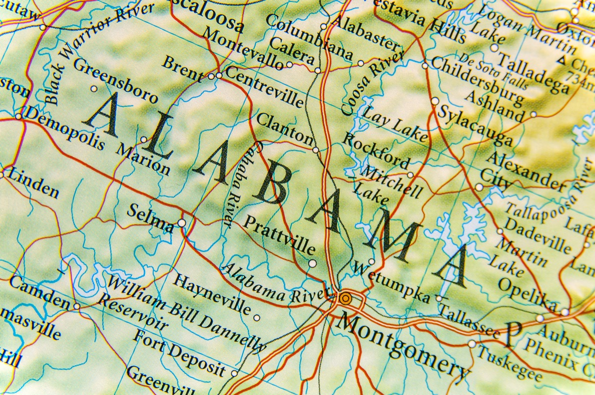alabama geographical map state natural wonders