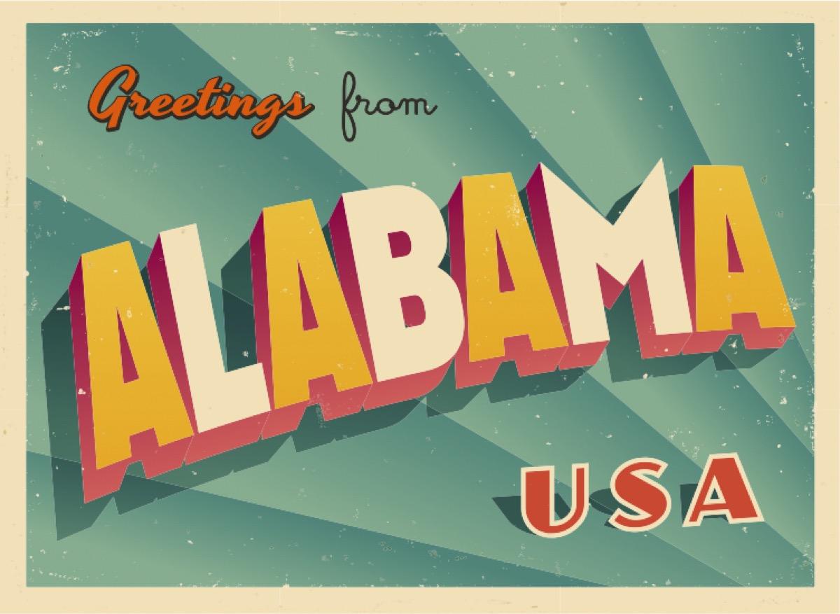 alabama postcard famous state statues