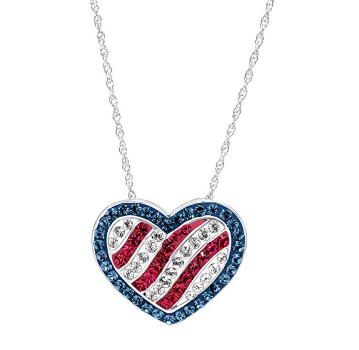 Red White and Blue Heart Necklace Fourth of July Accessories