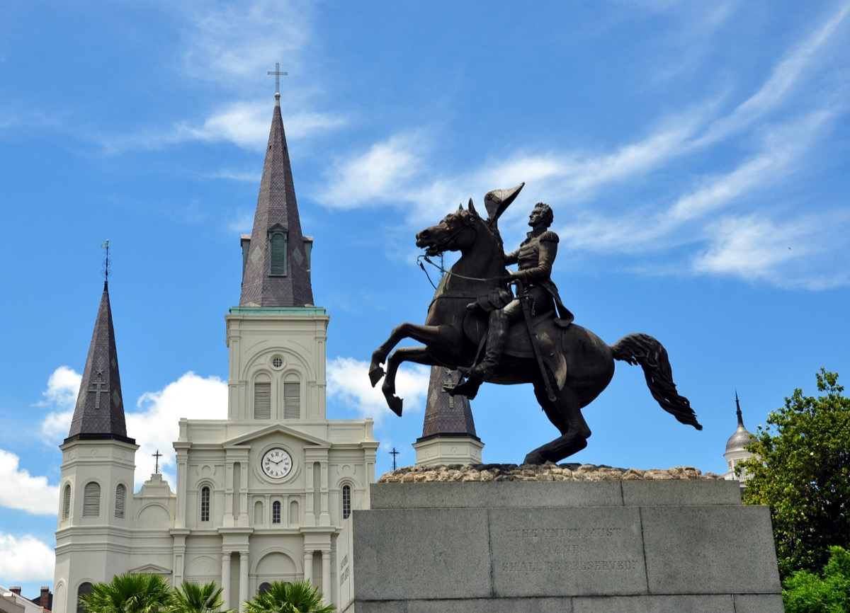 andrew jackson statue in new orleans louisiana famous state statues