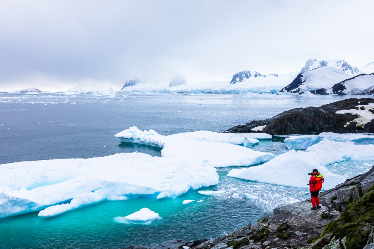 Tourist taking photos of amazing frozen landscape in Antarctica with icebergs, snow, mountains and glaciers, beautiful nature in Antarctic Peninsula with ice (Tourist taking photos of amazing frozen landscape in Antarctica with icebergs, snow, mountai