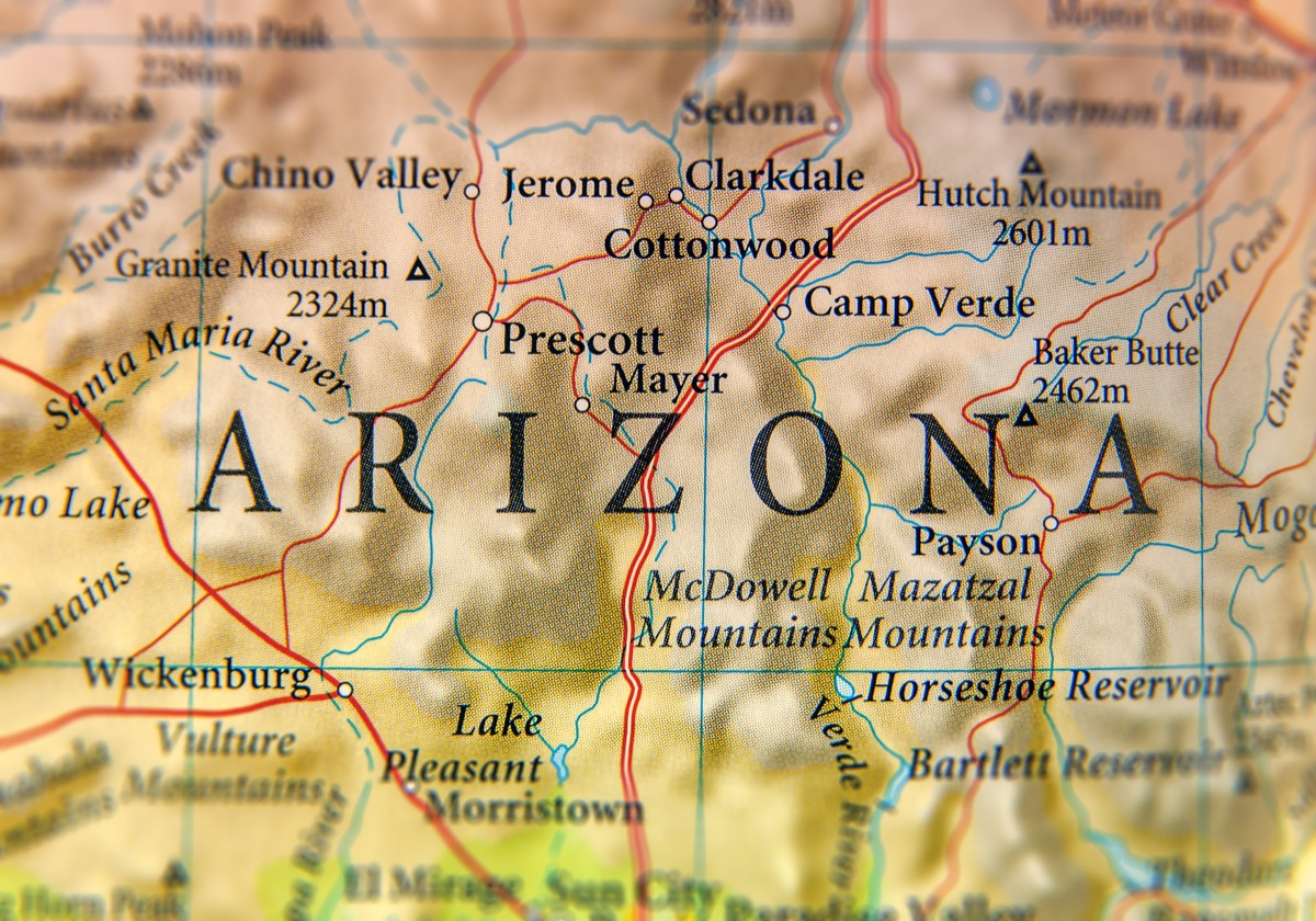 arizona geographical map state natural wonders