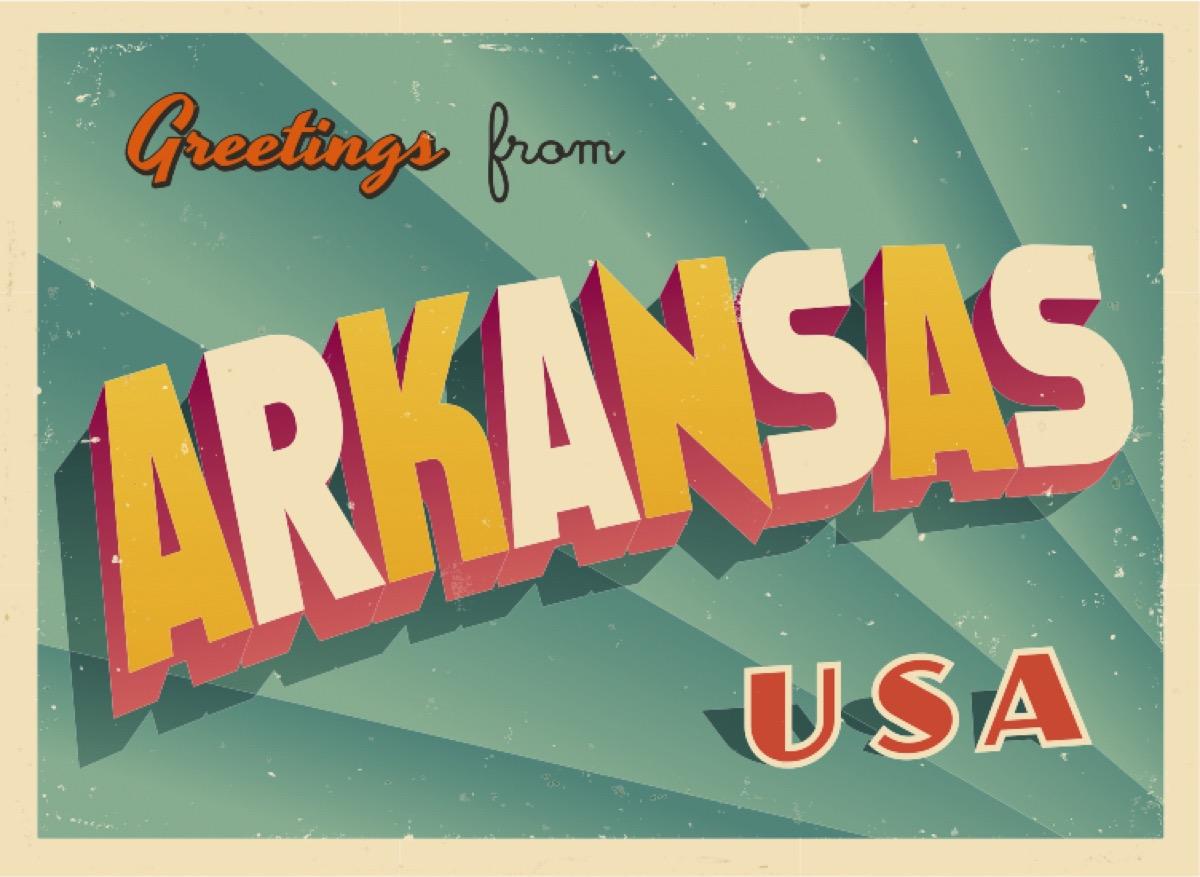 arkansas postcard famous state statues