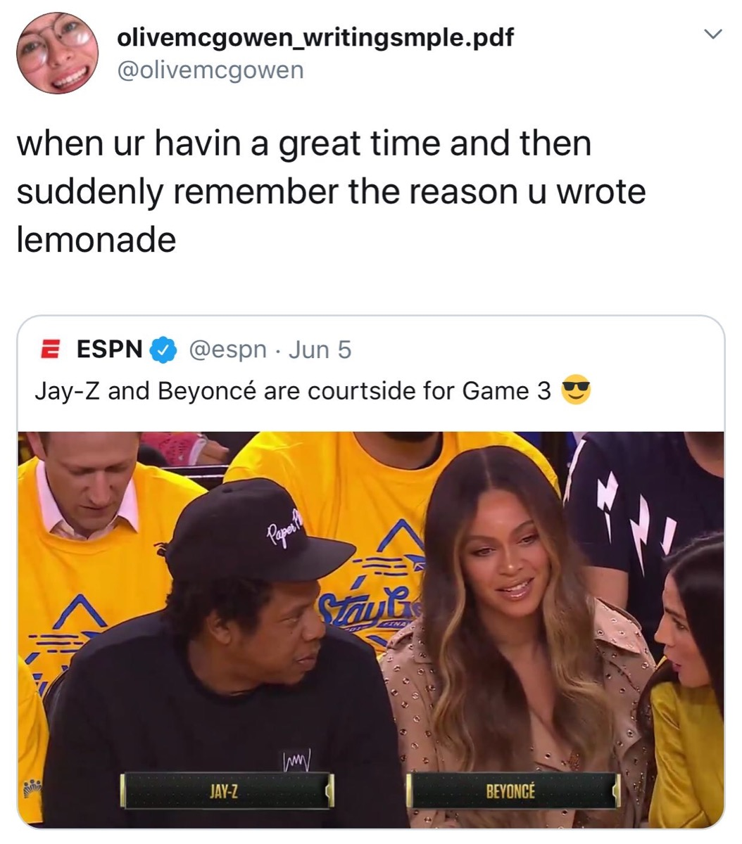 beyonces court side shade, 2019 memes