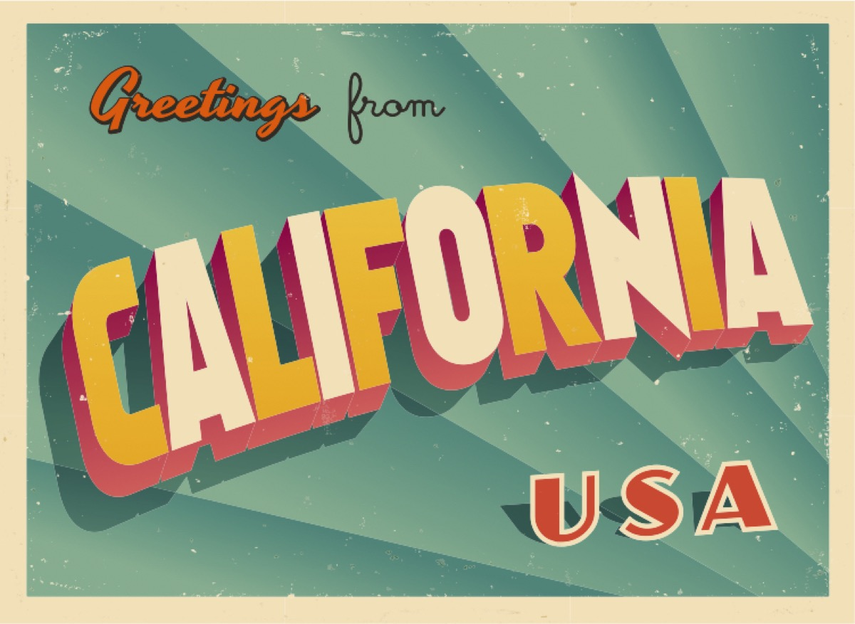 california postcard famous state statues