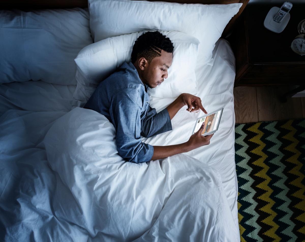 man who cant sleep is on his ipad