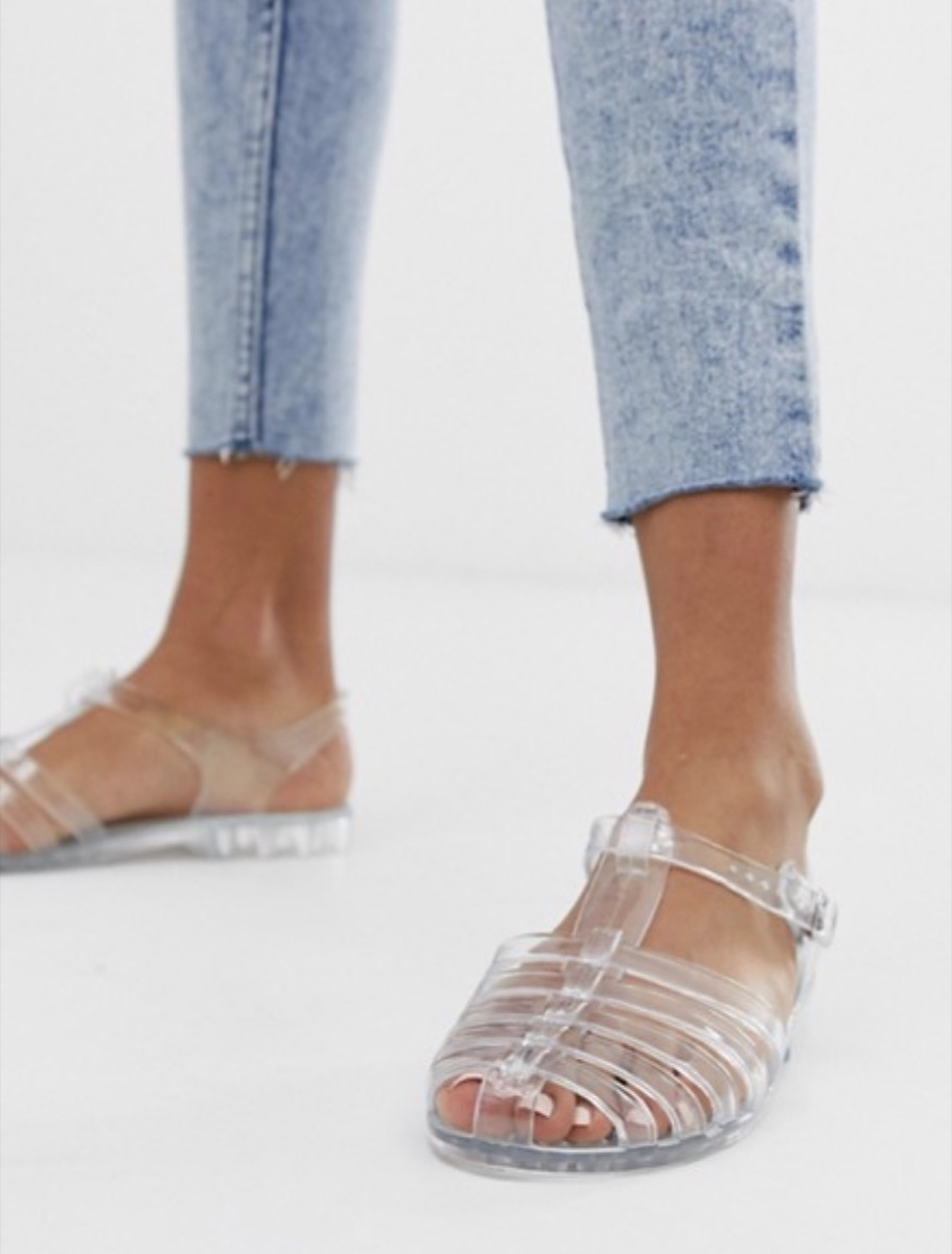 clear jelly shoes, affordable sandals