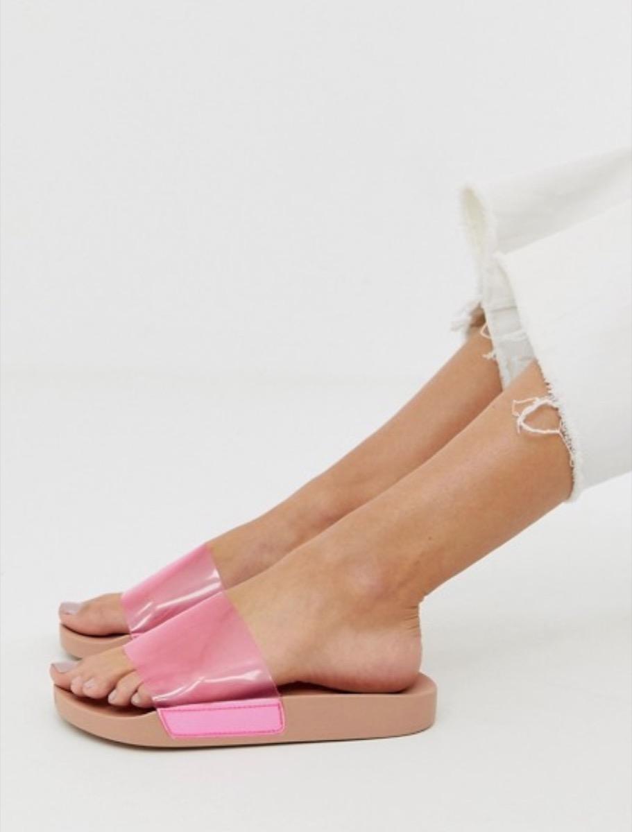 clear pink slides, affordable sandals
