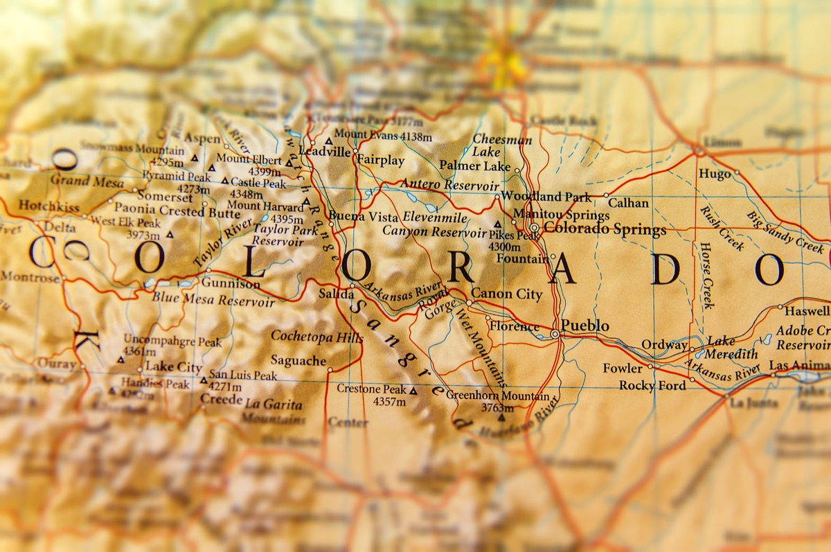 colorado geographical map state natural wonders