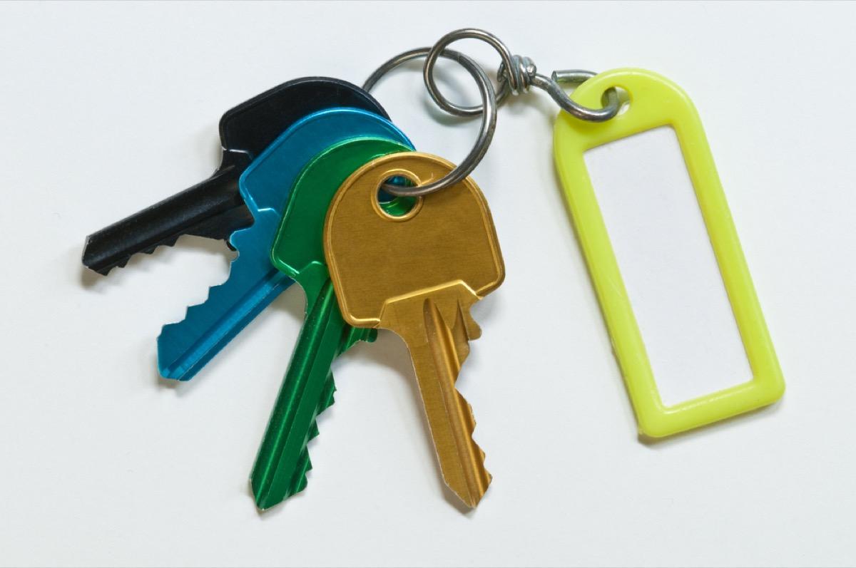 colorful keys on keyring, empty nest
