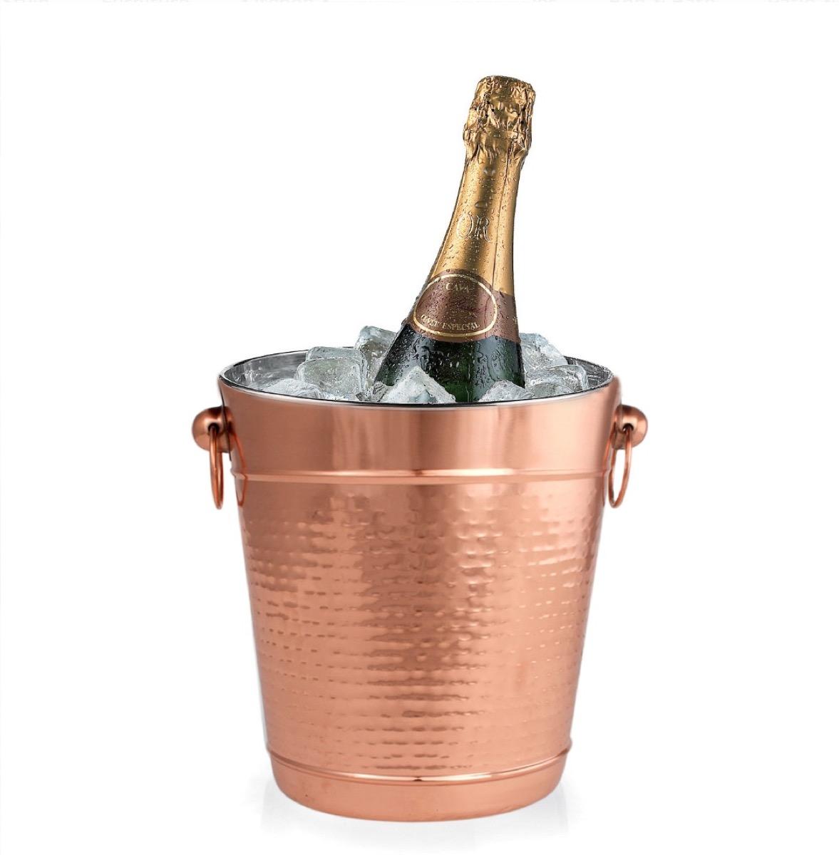 hammered copper champagne bucket, summer party essentials