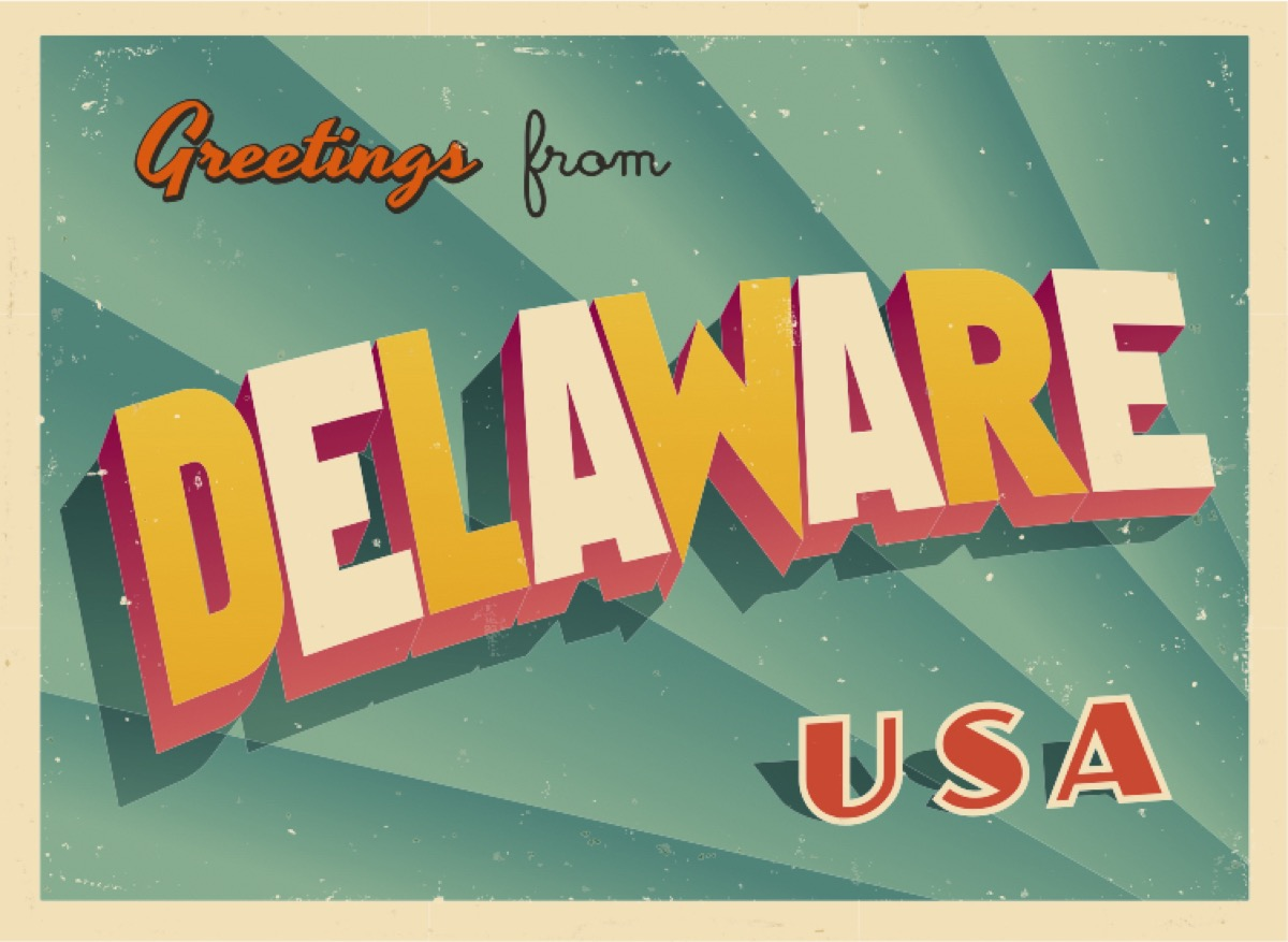 delaware postcard famous state statues