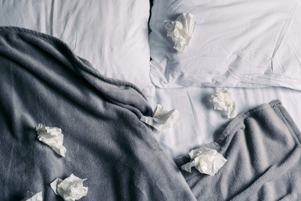 dirty tissues dirty sheets in bed
