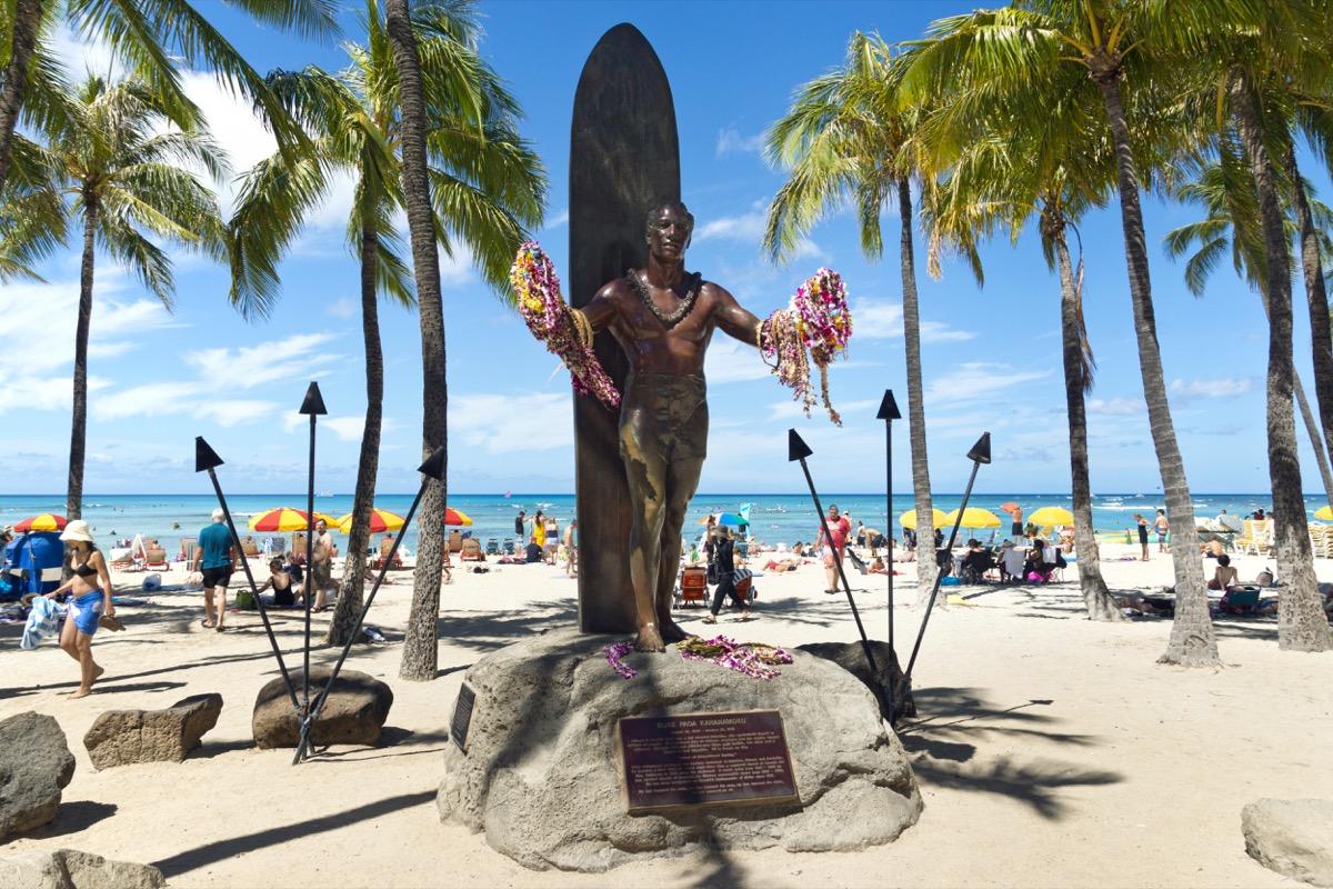 duke kahanamoku statue on waikiki beach honolulu hawaii