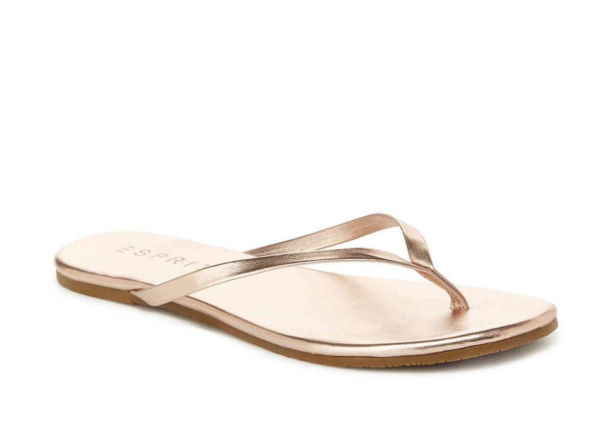 gold flip flops, affordable sandals