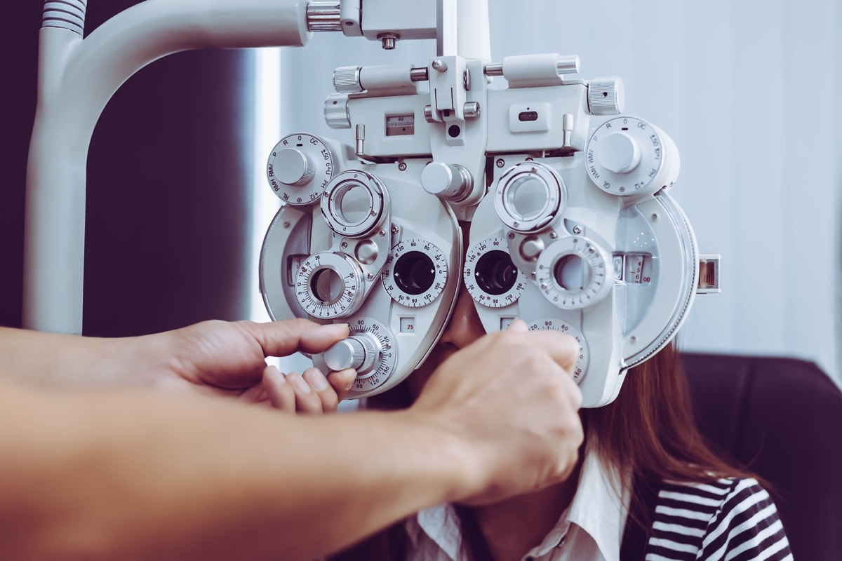 woman getting eye sight test for healthy vision
