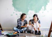 family painting wall in living room, diy hacks