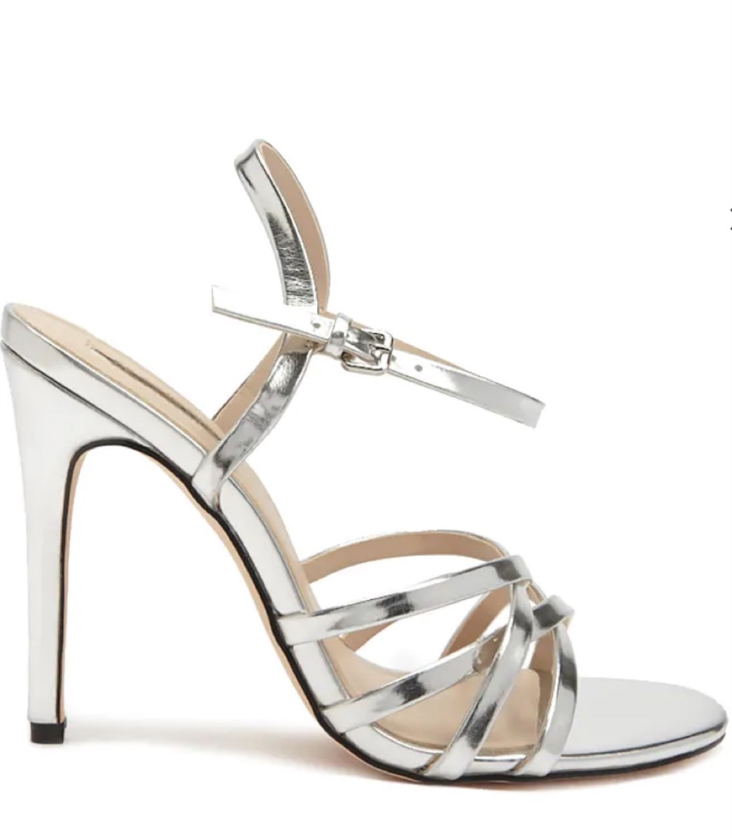 silver strappy sandals, affordable sandals