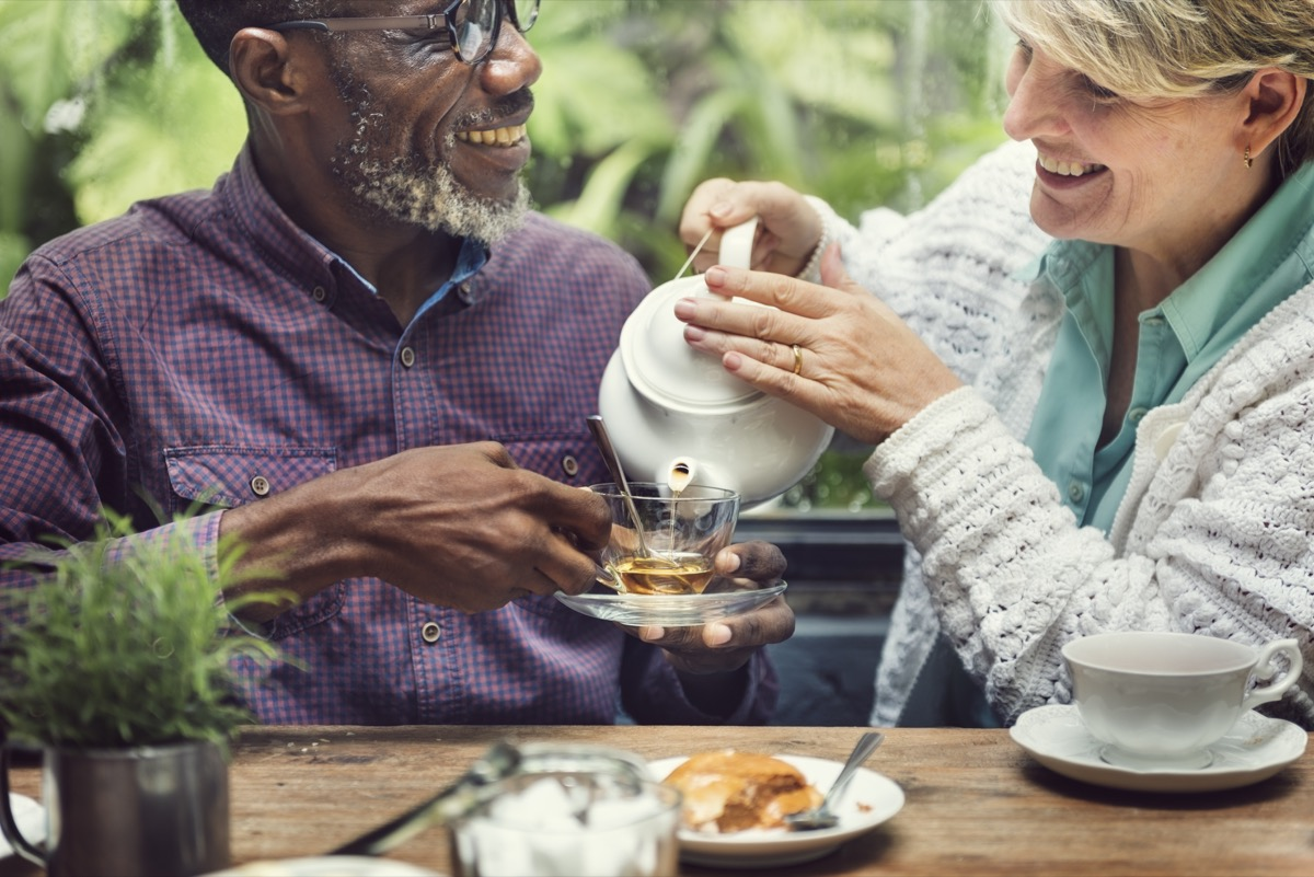 Older Adult Friends at a Cafe Drinking Green Tea, healthy sex after 40