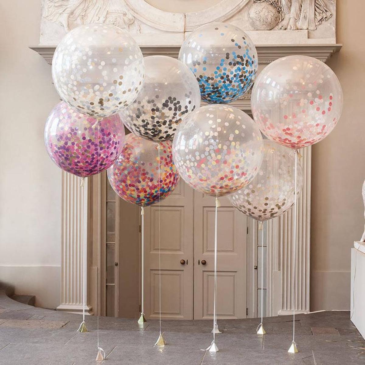 glitter confetti helium balloons, summer party essentials