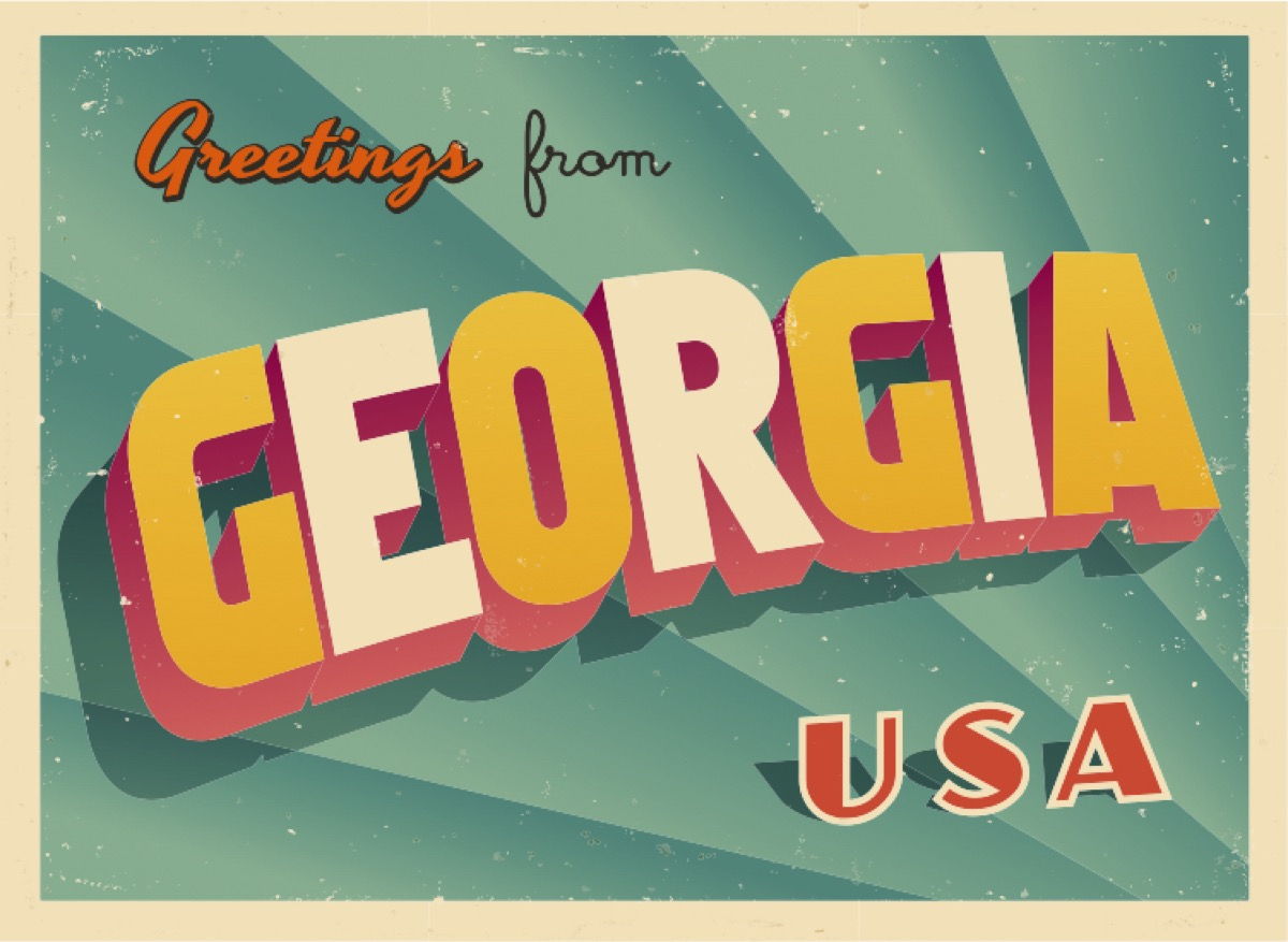 georgia state postcard famous state statues