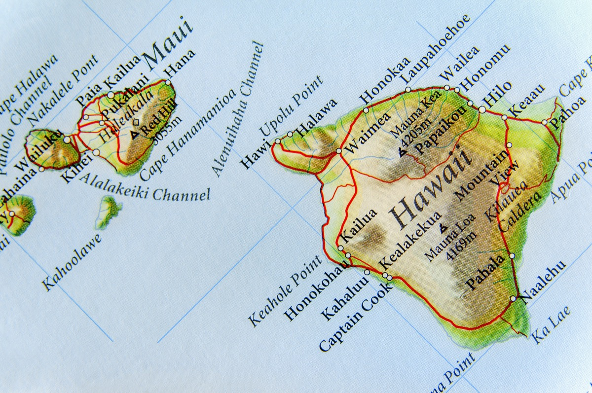 hawaii geographical map state natural wonders