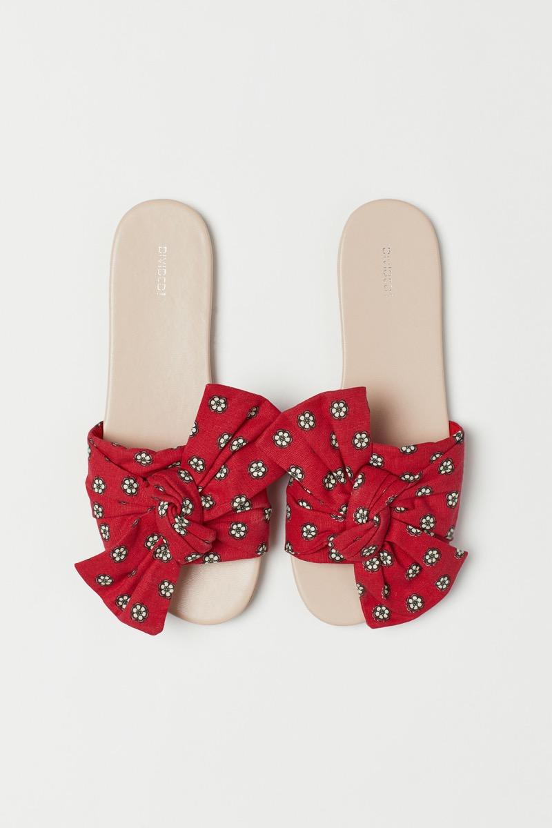 red bow slides, affordable sandals