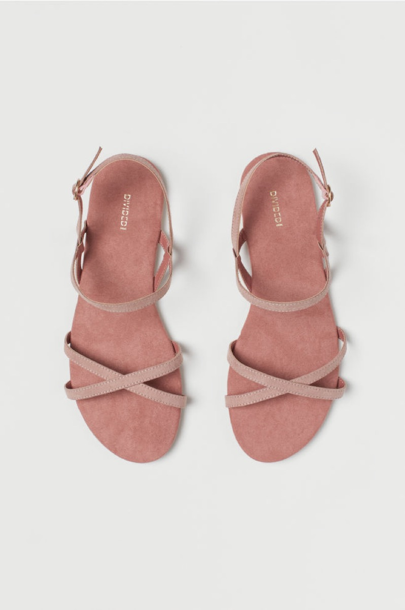 pink strappy sandals, affordable sandals