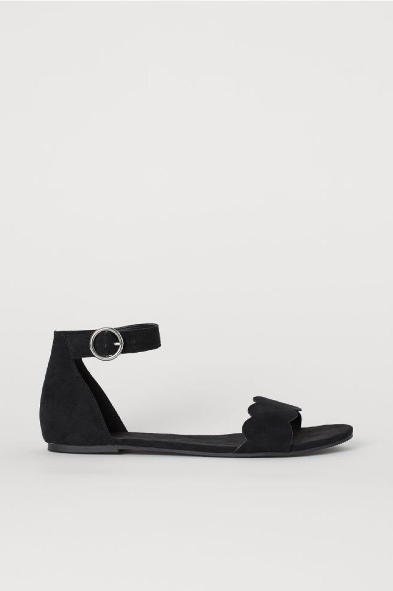 black scalloped sandals, affordable sandals